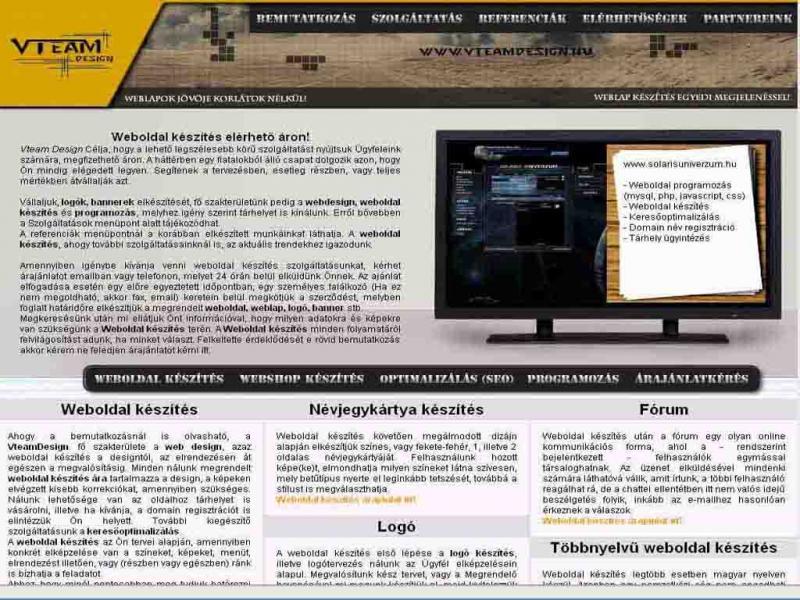 Weboldal készítés - Vteamdesign